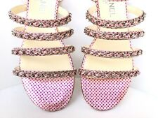 CHANEL METALLIC PALE PINK LEATHER FUCHSIA DOTS STRAPPY SILVER CHAIN SANDALS 38.5