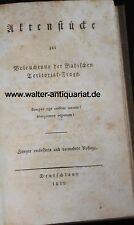 Aktenstücke zur Beleuchtung der Badischen Territorial-Frage 1818 Baden