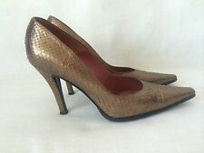 Sergio Rossi Brown Metallic Python Snakeskin hills, shoes. Sz. 38.0