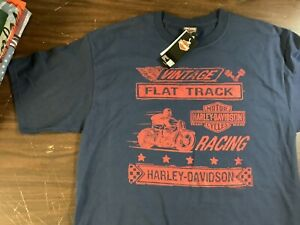Harley-Davidson Men's XL TALL Navy w/ Red Flat Track Racing Day Shirt NEW