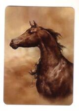 Arabian Brown Horse Flowing Mane -- Linen Modern Wide Swap Playing Card