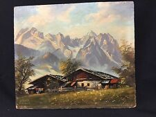 Vintage Signed Oil Painting of Bavarian Mountain Home in Garmisch, Germany