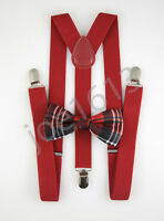 Red Plaid Bow Tie Red Suspender Mens Adult Combo Set Wedding SBTS20