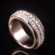 1.4CT Natural Diamond Wedding Engagement Band Men Ring Solid 18K Rose Gold