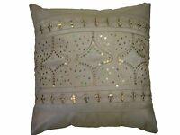 LUXURY GOLD SEQUIN SPARKLES EMBROIDERED CREAM SATIN CUSHION COVER £5.99 EACH