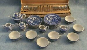 28 Piece Childs Tea Set - Blue Willow - Plus Metal Child Silverware Set - 1950s