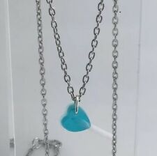 Small Blue Heart Lollipop Lolly Pendant Necklace Resin Kitsc Bright Chain A131