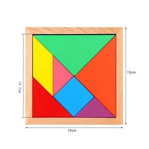Children Kids Educational Tangram Shape Wooden Puzzle Toy Geometry Intelligence