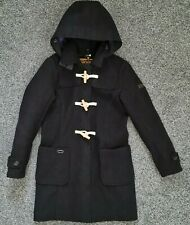 SuperDry Black Wool Blend Hooded Zip-Up Duffle Coat  Size = S