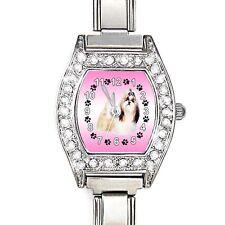 Shih Tzu Dog CZ Ladies Stainless Steel Italian Charm Bracelet Wrist Watch BJ1142