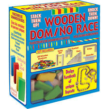 Classic Colourful Wooden Domino Race Game Traditional Educational Family Fun