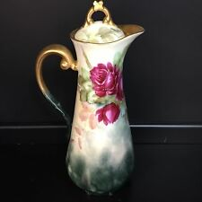 RED ROSES ANTIQUE HAND PAINTED LIMOGES CHOCOLATE POT unusual T&V CENTURY mark