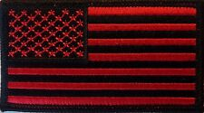 RED & BLACK USA FLAG BIKER PATCH - NEW EMBROIDERED AMERICAN FLAG PATCH