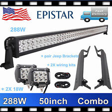 "Roof Bracket Fits Jeep 1997-06 TJ Wrangler+50"" 288W LED Light bar+2X 18W+Wirings"