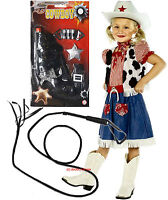 Cowgirl Cutie Sweetie Girls Fancy Dress Costume Outfit Opt Gun, Whip Age 4-12