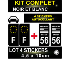 4 STICKERS NOIR REGION + F PLAQUE IMMATRICULATION DEPARTEMENT 56 BLASON BRETAGNE