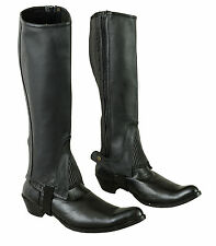 Half Chaps Black Adults Full Grain Quality Cowhide Leather-Regular+Tall Sizes