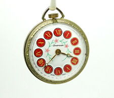 Numeral Floral Dial Pocket Watch Vintage American Heritage Swiss Made Roman