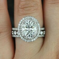 Off White 3.26Ct Oval Moissanite Engagement Ring With 2 Band 925 Sterling Silver