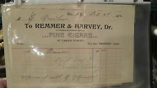REMMER & HARVEY FINE CIGARS 1903 & 1906  Invoice Receipt  NEW YORK TOBACCO Pa