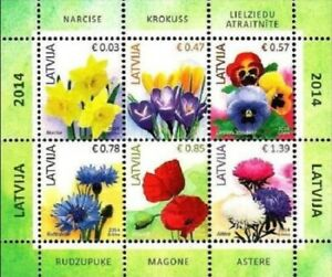 Stamp minisheet of LATVIA 2014 - Flowers