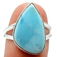 Larimar (Dominican Republic) 925 Sterling Silver Ring s.8.5 Jewelry 9600