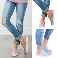 Women Lady Summer Casual Canvas Hollow Out Round Toe Flat Heel Loafer Shoes