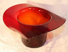 Vintage 1940's-50s Art Glass Red Blown Glass Hat Vase Decor Accent