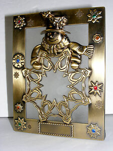Things Remembered Brass Snowman Christmas Tealight Candle Holder Swarovski C13