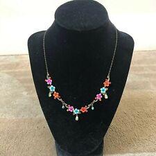 MICHAL NEGRIN Flower (Pink, Orange, Blue) Delicate Statement Necklace