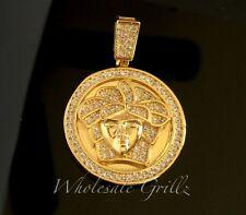 New Medusa Head MICRO Pendant 14k Gold gp Simulate Diamond Pave Piece Mini Charm
