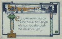 Arts & Crafts GH Williamson B-60 Congratulations c1910 Postcard