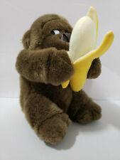 "Gorilla Plush Holding Banana Embrace Stuffed Animal 8"" Monkey Primate Cute"