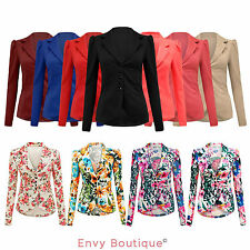 Polyester Patternless Formal Blazers for Women