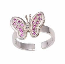 Ring Diamond and Pink Sapphire Butterfly Solid (Not Plated) 14kt White Gold Toe