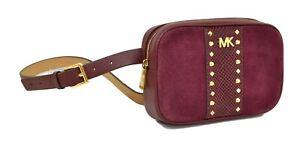 Designer Michael Kors 16MM STUDDED BELT BAG Size Burgundy Leather Large/X-Large