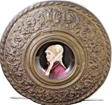Ca-mid-1800s-Royal-Vienna-Exquisite-Hand-Painted-Portrait-Plate-in-Bronze-Frame