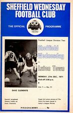 Sheffield Wednesday v Luton Town programme, 2nd Division, December 1971