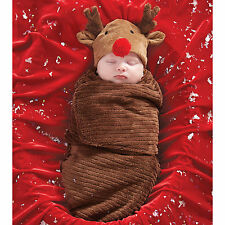 Mud Pie Christmas Holiday MH5 Baby Newborn Reindeer Bunting & Cap Set 2142030