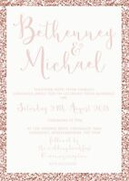 Personalised Luxury Wedding Invitations PINK GLITTER effect packs of 10