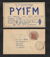 1947 PY1FM QSL CARD JANEIRO BRAZIL POSTALLY USED