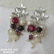 Blüten-Trio Granat Quarz Kristall Zucht Perlen Ohrringe 925 Silber Ohrstecker