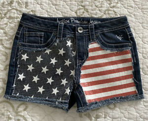 🎼Justice Girls Jean Shorts Sz 12-USA American Flag Sequin Red/White/Blue Star