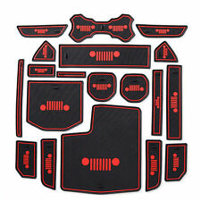Fit For Jeep Wrangler Jl Accessories Door Mats Gate Slot Mat Cup Pads Red 19pcs