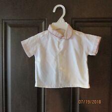 Baby Button Down Shirt White Mauve 6-10 lbs