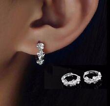 Women Lady Flower Ear Stud Earrings Hoop Silver Plated Crystal Rhinestone