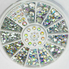 5 Sizes DIY Acrylic Nail Art Decoration 3D Clear White Glitter Rhinestone+Wheel