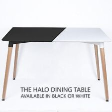 Halo Dining Table Black Halo White Retro Design DA DS Beech Wood Legs Office