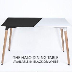 Halo Dining Table Black Halo White Retro Design DA DS Beech Wood Legs Office