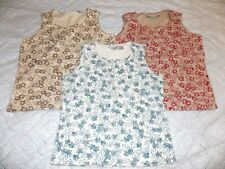 Lot 3 Pc STRETCH WHITE STAG LADIES SMALL TOP sleeveless floral print woman top